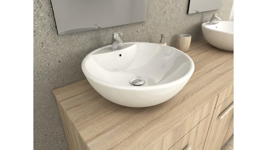 Meuble de salle de bain design double vasque chêne clair - Balboa