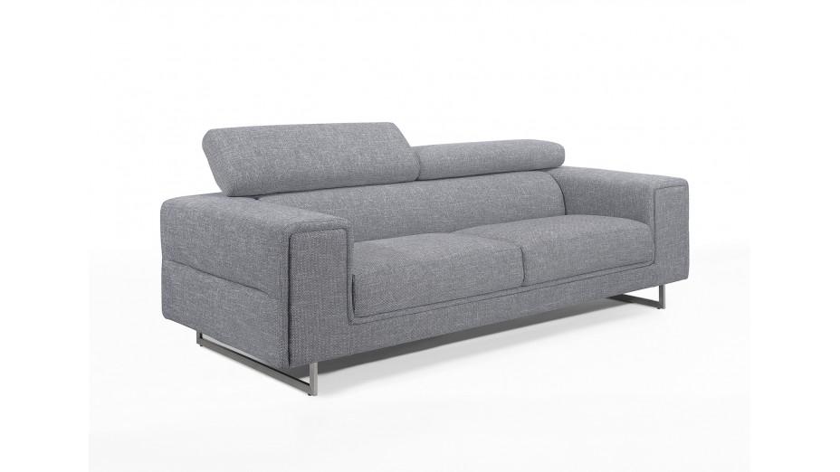 Canapé en tissu design 3 places gris avec têtières Street