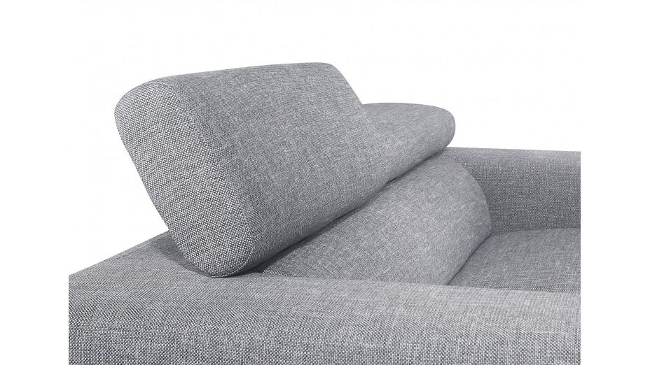 Canapé en tissu design 2 places gris avec têtières Street