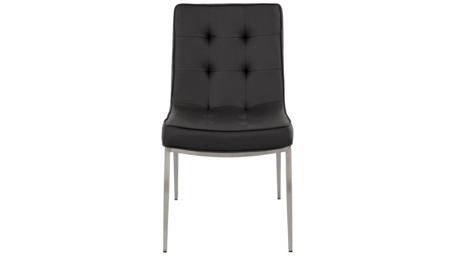 Chaise capitonnée en simili cuir noir
