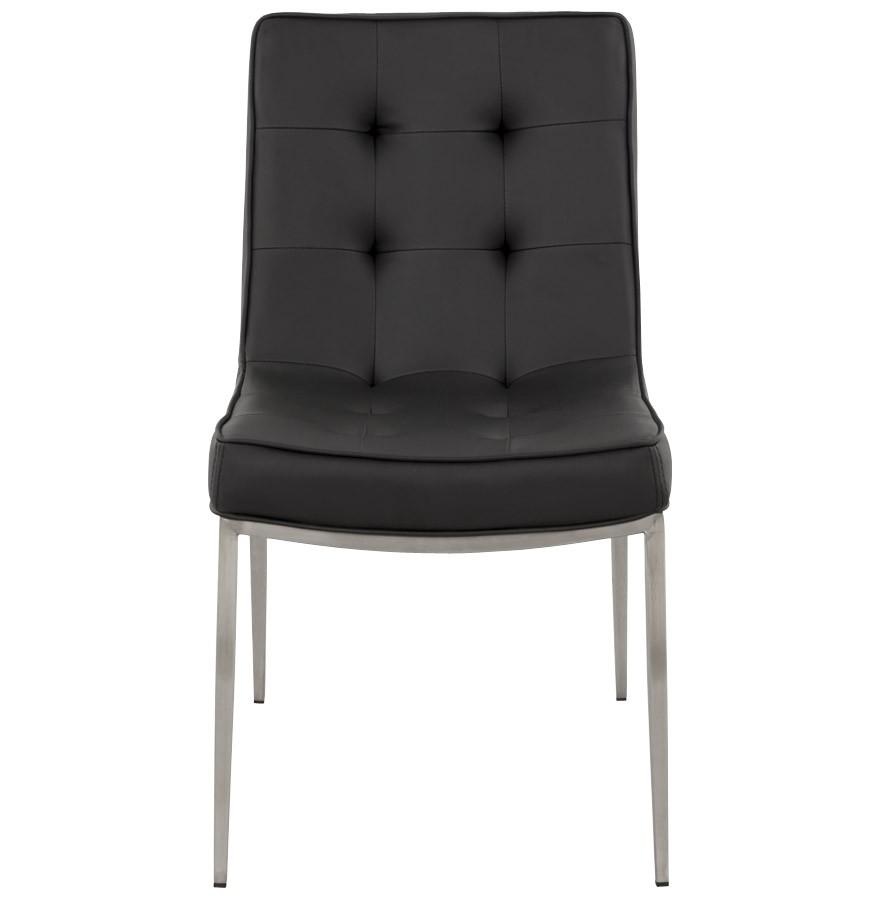 Sloop chaise capitonn e en simili cuir noir - Chaise cuir noir design ...