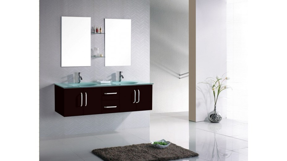 meuble salle de bain suspendu weng double vasque en verre tremp. Black Bedroom Furniture Sets. Home Design Ideas