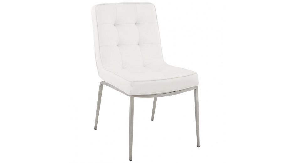 Chaises simili cuir blanc maison design for Chaise en cuir blanc