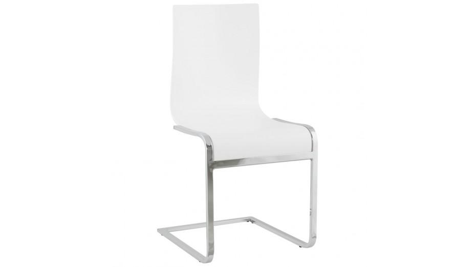 Ck chaise en bois blanc moderne pi tement cantilever - Chaise en bois blanc ...