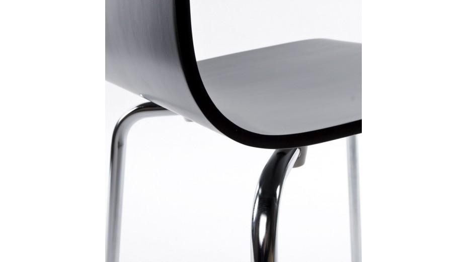 Erasme chaise simple en bois noir avec pieds chrom s for Chaise noir pied bois
