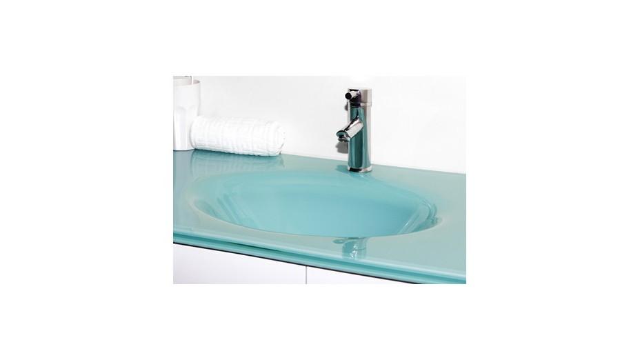 Meuble salle de bain suspendu wengé double vasque en verre trempé