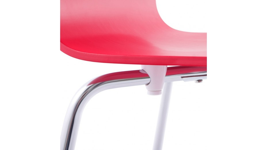 Erasme chaise simple en bois rouge avec pieds chrom s for Chaise avec pied bois