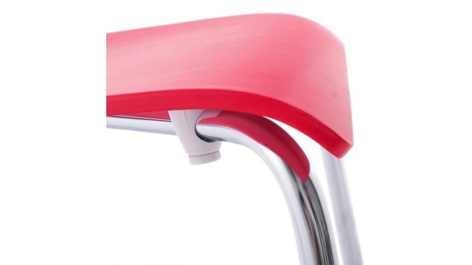 Erasme - Chaise simple en bois Rouge avec pieds chromés