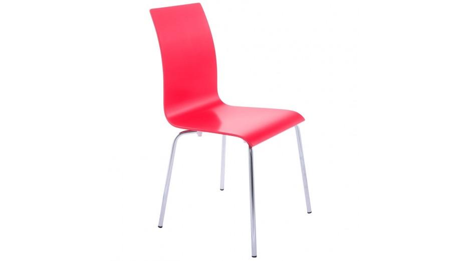 Erasme chaise simple en bois rouge avec pieds chrom s for Chaise bois rouge