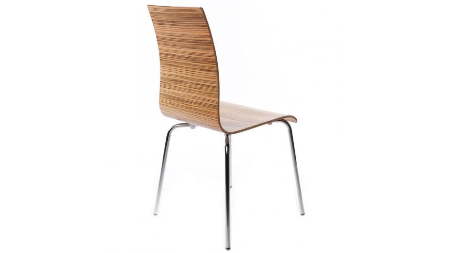 Erasme chaise simple en bois zebrano avec pieds chrom s for Chaise avec pied bois