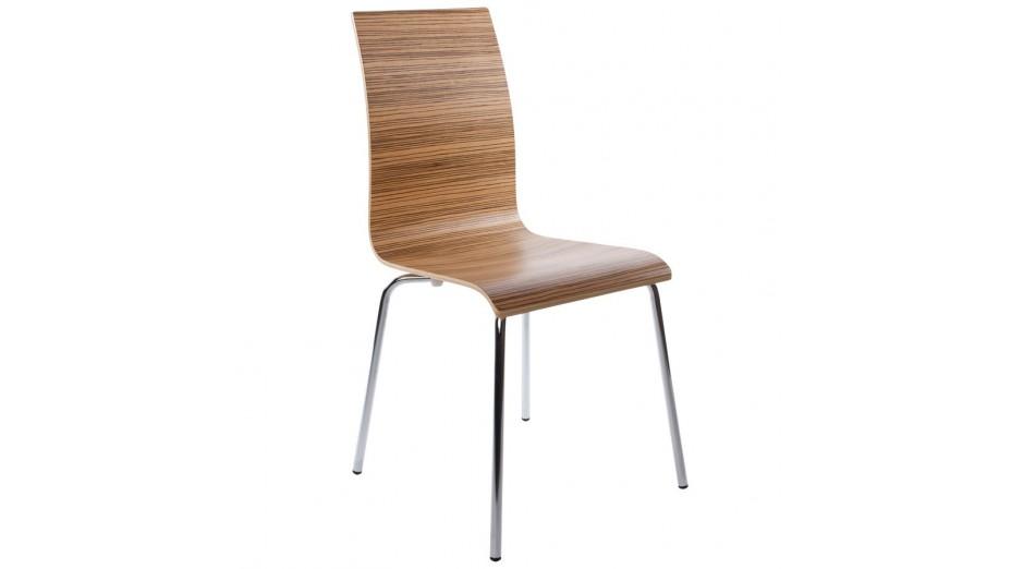 Erasme Chaise simple en bois Zebrano avec pieds chromés