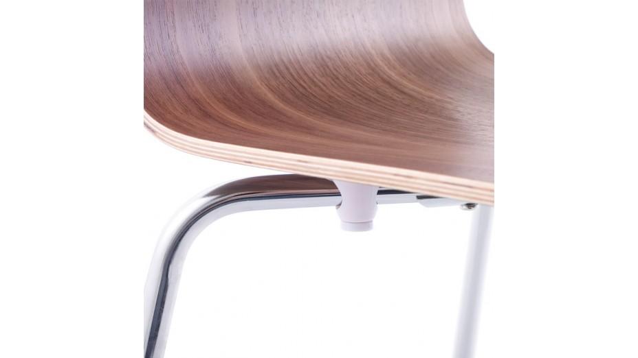 Erasme - Chaise simple en bois wengé avec pieds chromés