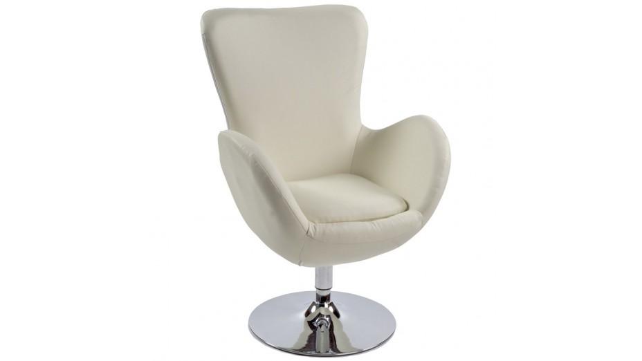 Mudos fauteuil moderne simili cuir cr me - Fauteuil cuir moderne ...