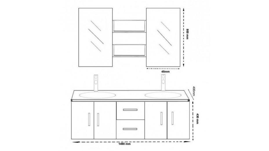 Meuble Salle De Bain Suspendu Wenge Double Vasque En Verre Trempe