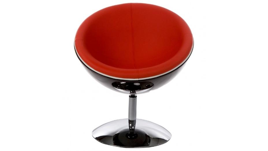 Ball fauteuil pivotant boule noire en simili cuir rouge - Fauteuil pivotant rouge ...