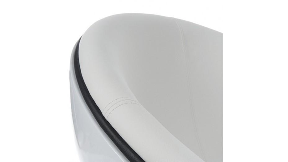 Ball - Fauteuil pivotant boule blanche en simili cuir blanc