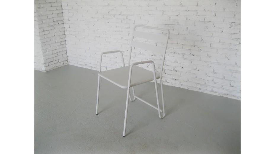 B.M.I. Blanc - Chaise cosy et moderne en métal