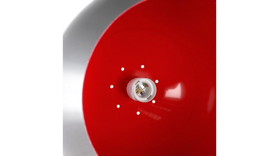 Gop - Supension boule alu brossé intérieur rouge