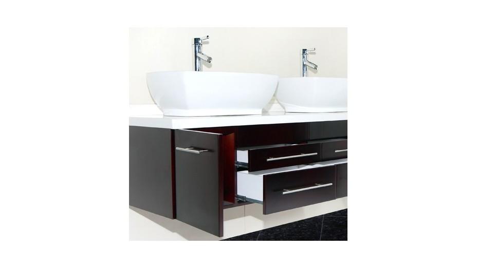 Meuble salle de bain moderne suspendu double vasque for Salle de bain 1m de large