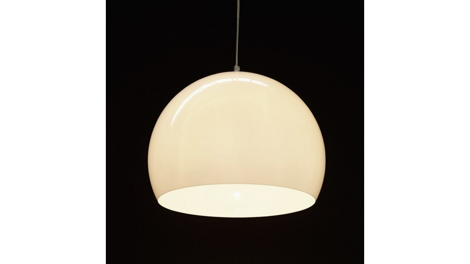 Luna suspension abat jour boule blanche for Suspension boule