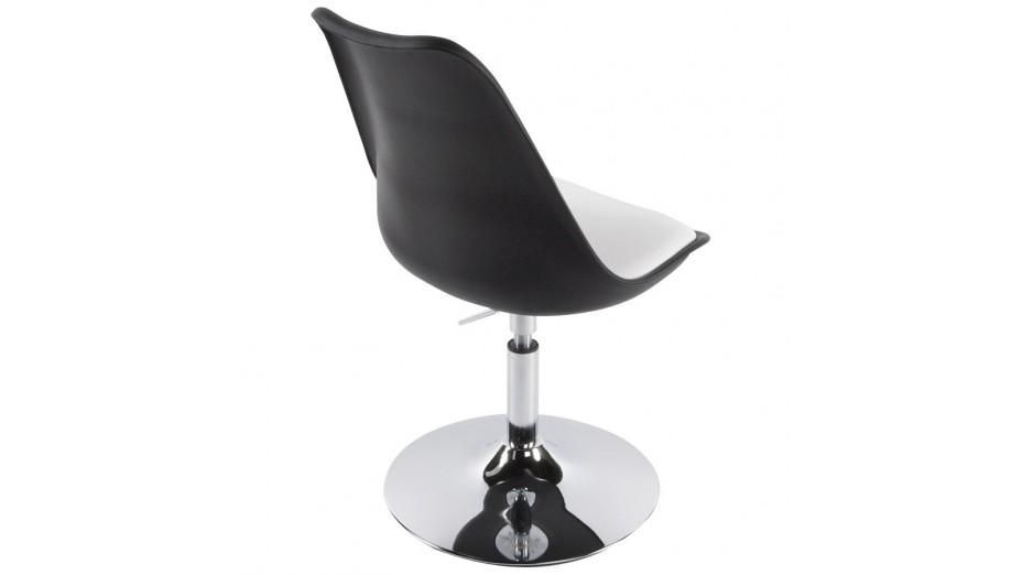LYS- Chaise moderne pivotante blanche et noire