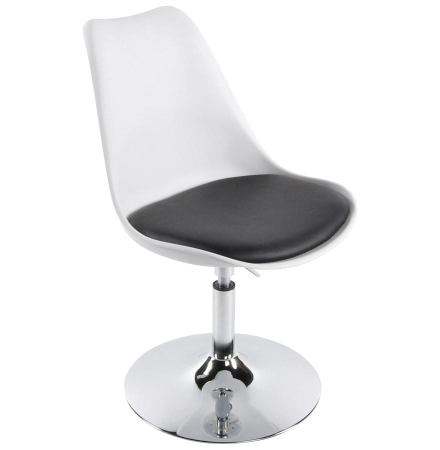 Lys chaise moderne pivotante noire et blanche - Chaise noir et blanche ...