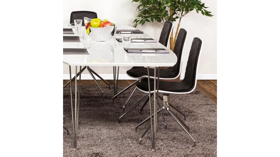 Chaise de table simili cuir blanc chaises tables et lot - Chaise noir et blanc ...