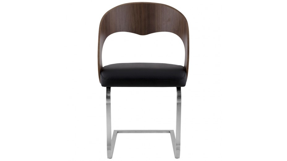 Cosy chaise moderne assise en simili cuir noir dossier noyer - Chaise design cuir noir ...