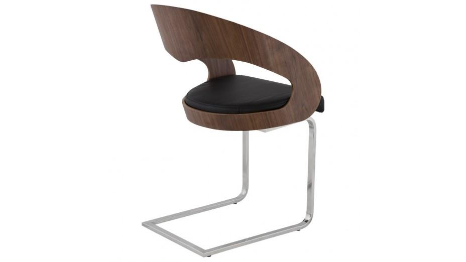 Cosy chaise moderne assise en simili cuir noir dossier noyer - Chaises en cuir noir ...