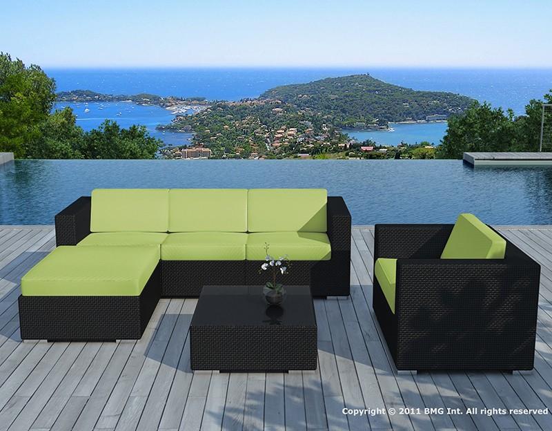 Salon de jardin résine tressée Noire/Vert - COPACABANA - Delorm Design