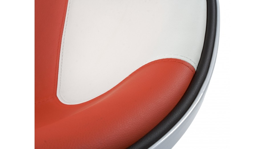 Tom - Fauteuil rotatif blanc et rouge