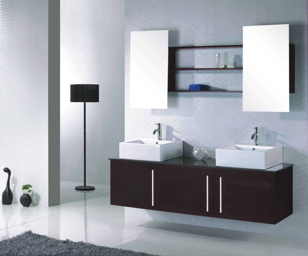 meuble de salle de bain design double vasque en c ramique mitigeurs. Black Bedroom Furniture Sets. Home Design Ideas