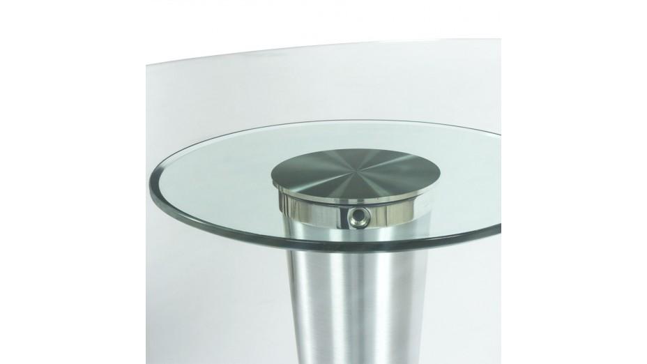 Stil - Table ovale en verre trempé transparent - pied aluminium
