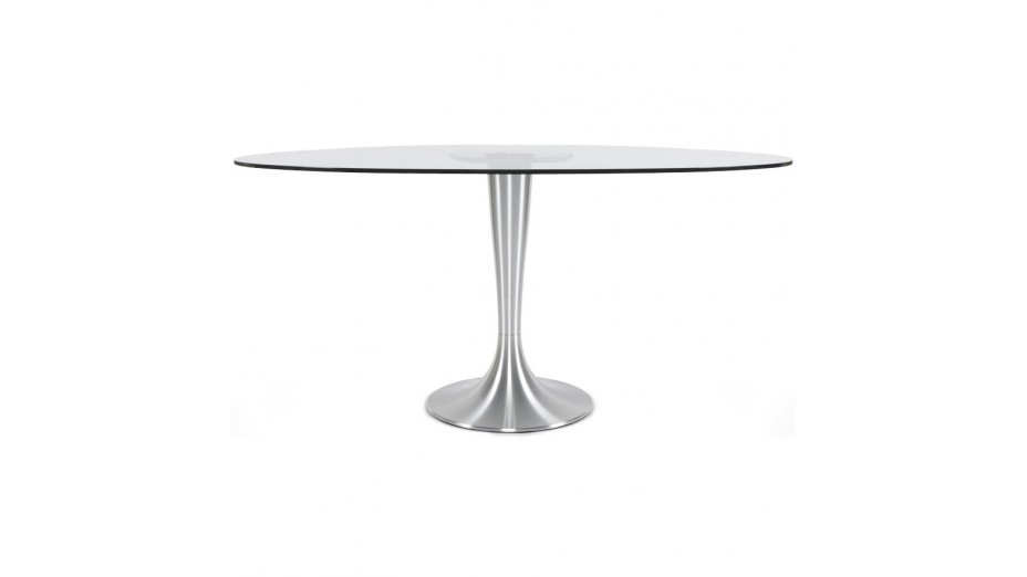Table ovale en verre tremp transparent pied aluminium - Table ovale en verre design ...