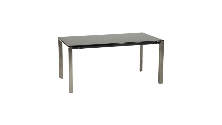 Bakou table extensible verre tremp noir - Table verre noir extensible ...