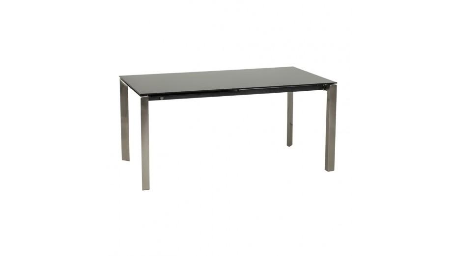 Bakou table extensible verre tremp noir for Table verre noir extensible