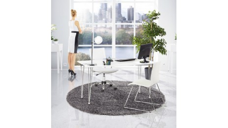 table ovale en verre tremp transparent pied aluminium stil. Black Bedroom Furniture Sets. Home Design Ideas