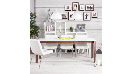 Table carr e avec rallonge en ch ne massif nathan for Table extensible blanche et bois