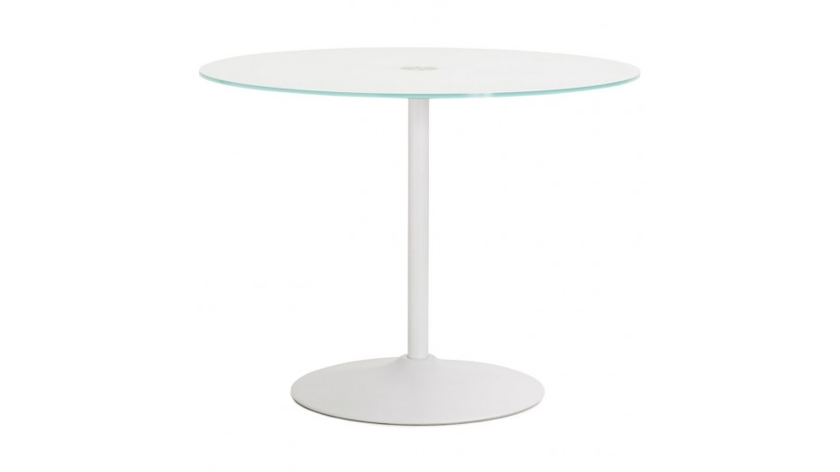 table ronde blanche plateau verre
