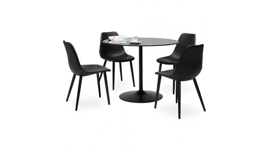 Alofi table ronde noir plateau verre - Plateau verre pour table ronde ...
