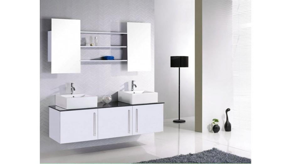 Meuble de salle de bain design double vasque en c ramique - Vasque de salle de bain design ...
