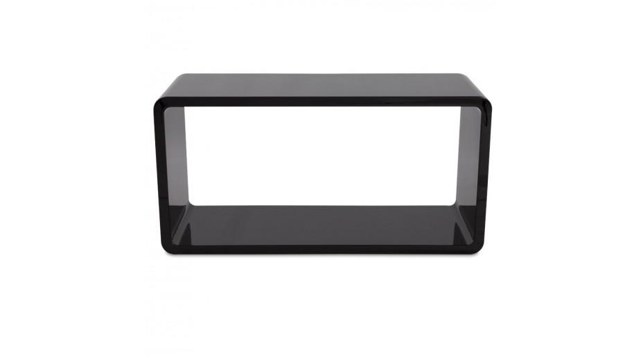 Rek cube de rangement recangulaire en bois laqu noir - Cube de rangement noir laque ...
