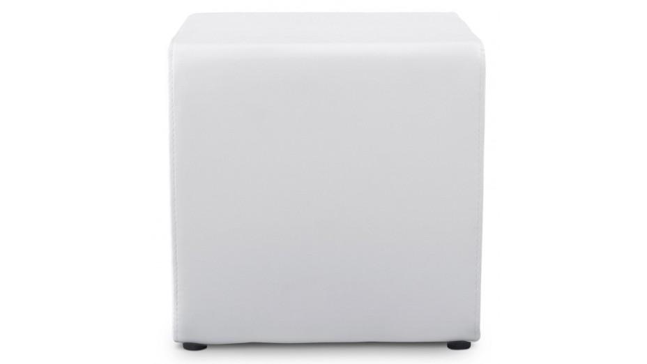 Como - Tabouret/Pouf carré en simili cuir blanc
