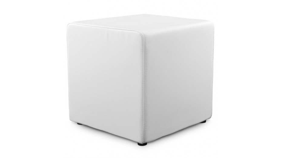 como tabouret pouf carr en simili cuir blanc. Black Bedroom Furniture Sets. Home Design Ideas