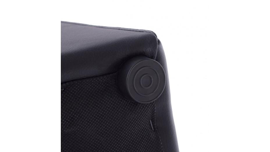 Como - Tabouret/Pouf carré en simili cuir noir