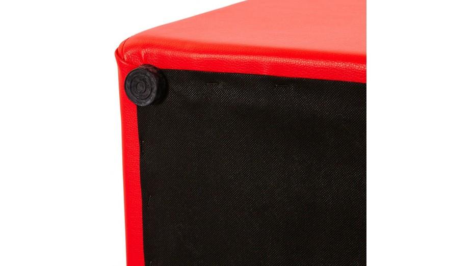 Como - Tabouret/Pouf carré en simili cuir Rouge