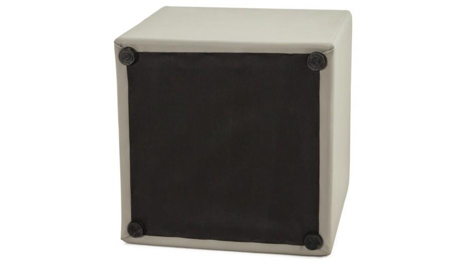 Como - Tabouret/Pouf carré en simili cuir gris