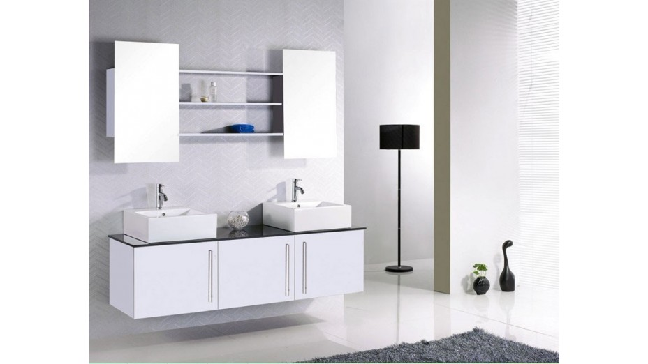 kit complet meuble de salle de bain double vasque tag res et miroirs. Black Bedroom Furniture Sets. Home Design Ideas