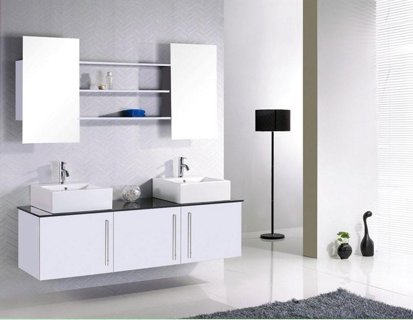 Kit complet meuble de salle de bain double vasque + étagères et miroirs