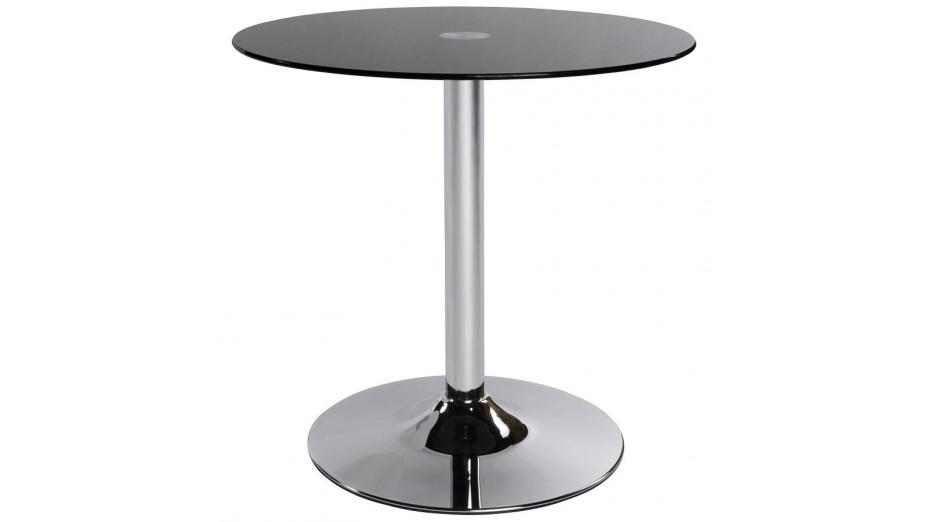 Zo bout de canap rond verre noir - Table bout de canape en verre design ...